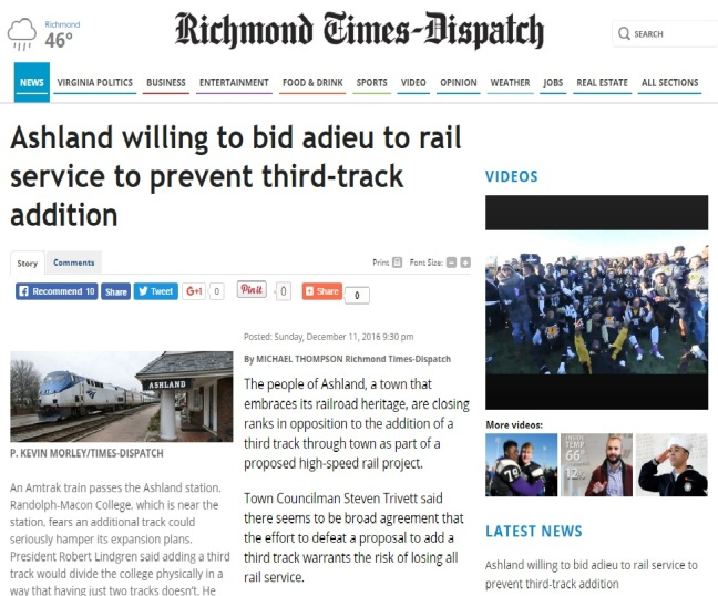 Richmond Times-Dispatch Ashland Train Third Rail