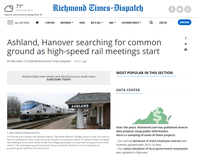 High speed rail Ashland VA