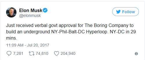Elon Musk Boring Company Hyperloop New York to Washington
