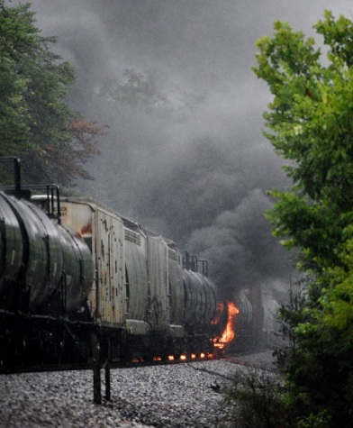 Burning tank car