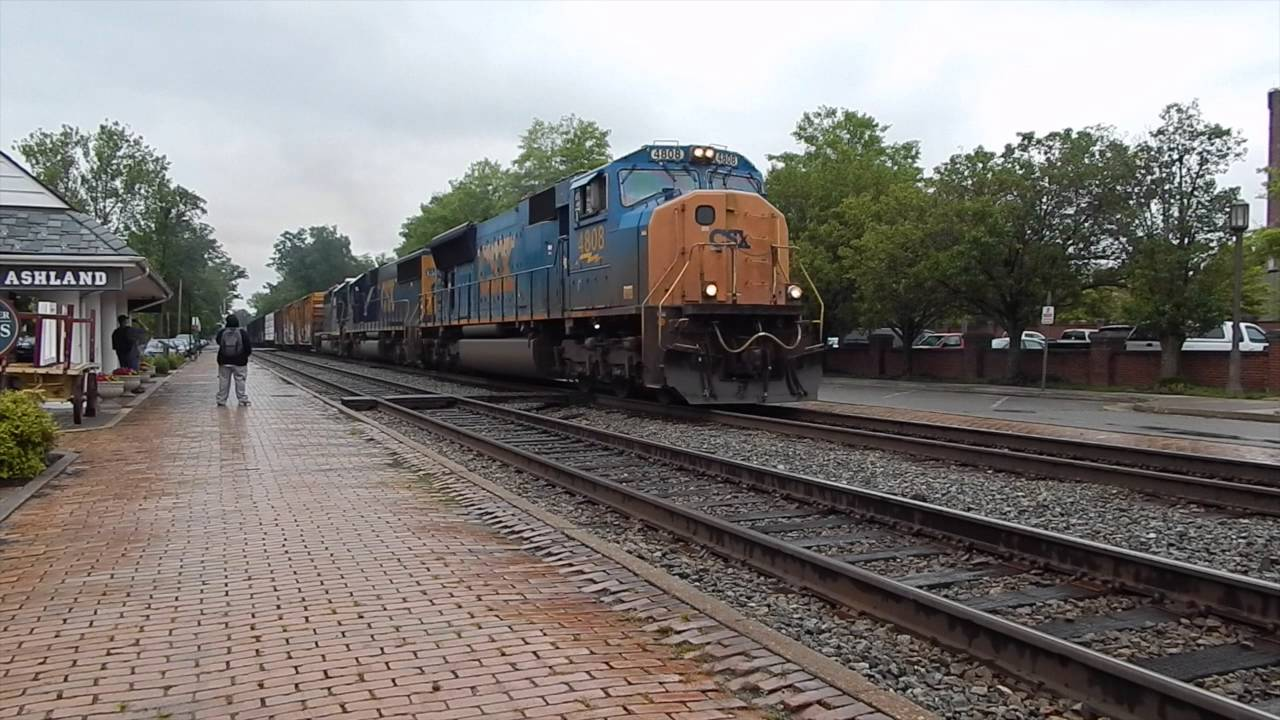 CSX freight train passing through Ashland VA